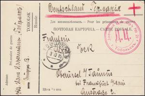 Kriegsgefangenpost 1. Weltkrieg russische Postkarte TOBOLSK 3.10.15 russ. Zensur