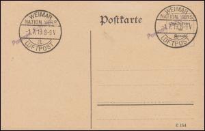 Stempel WEIMAR NATIONALVERSAMMLUNG LUFTPOST 1.7.1919 auf Blanko-Postkarte