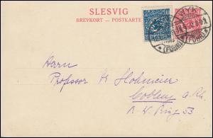 Schleswig Postkarte P 2 SLESVIG 10 Pf. mit 6 von WYK (FÖHR) 12.6.1920 n. Coblenz