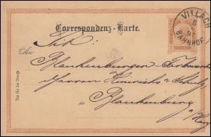 Österreich Postkarte P 74 Franz Joseph 2 Kr. VILLACH BAHNHOF 8.4.1891