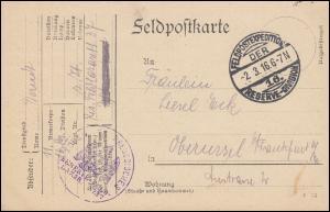 Feldpost BS Königl. Preussisches Reserve-Feld-Lazarett 237 RESERVE-DIV. 2.3.1916