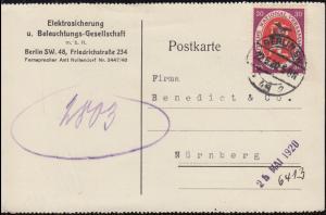 110 Nationalversammlung EF auf Postkarte BERLIN SW 48 - 22.5.20 nach Nürnberg