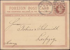 Großbritannien Postkarte P 4 Königin Viktoria DUP LONDON 27 AA - 8.5.1878