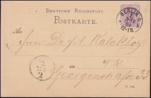 40 Ziffer EF Orts-Postkarte Einladung Verein für Philatelie BERLIN 3.11.1884