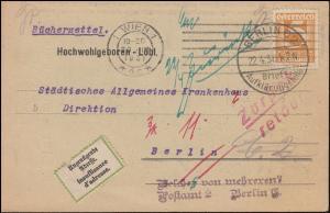 Österreich Bücherzettel WIEN 20.4.31 nach BERLIN Brief-Aufklärungsstelle 22.4.31