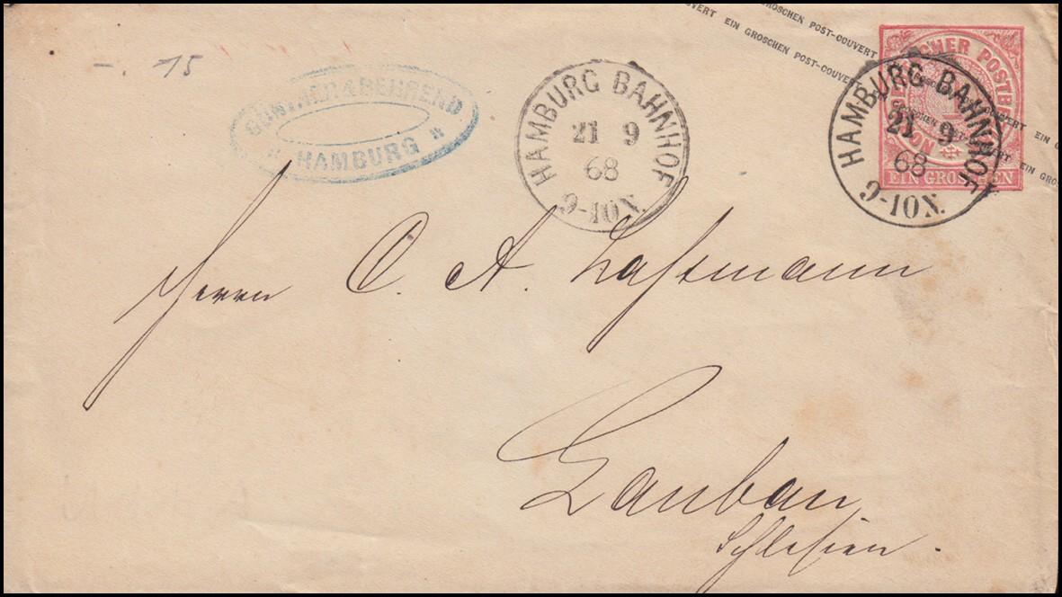 Norddeutscher Bund Umschlag U 1A Einkreisstempel HAMBURG-BAHNHOF 21.9.1868 0