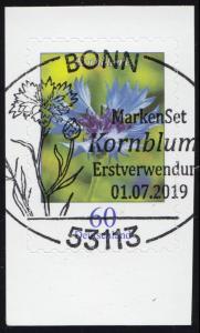 3481 Blume Kornblume, selbstklebend aus FB 88, EV-O BONN 1.7.2019