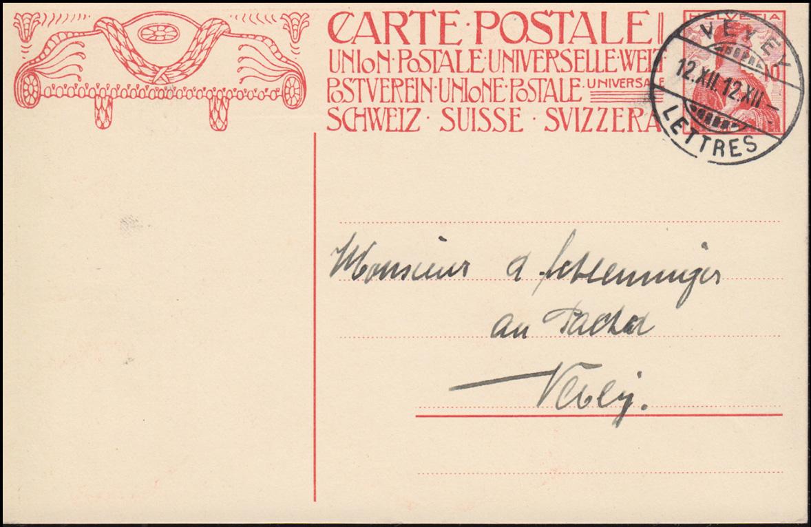 Schweiz Postkarte P 68a mit Jahrhundertstempel VEVEY 12.12.12-12 Uhr 0