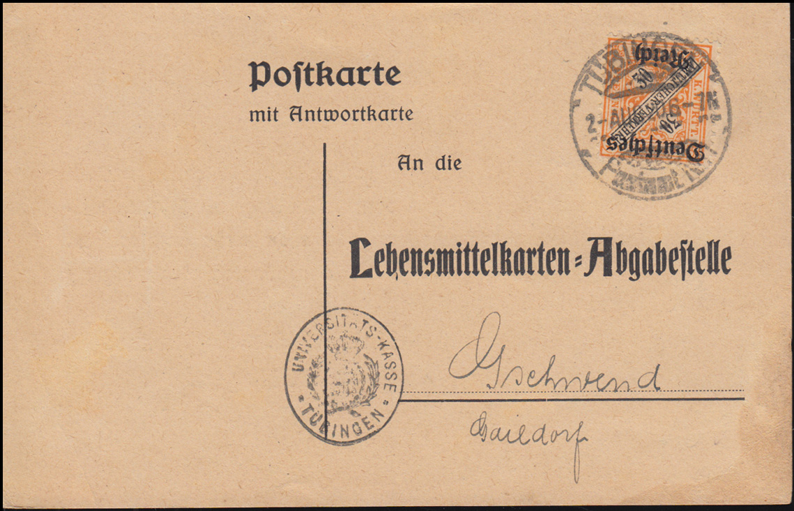 61 Dienst EF auf Postkarte Lebensmittelkarten-Abgabestelle TÜBINGEN 2.8.1920 0