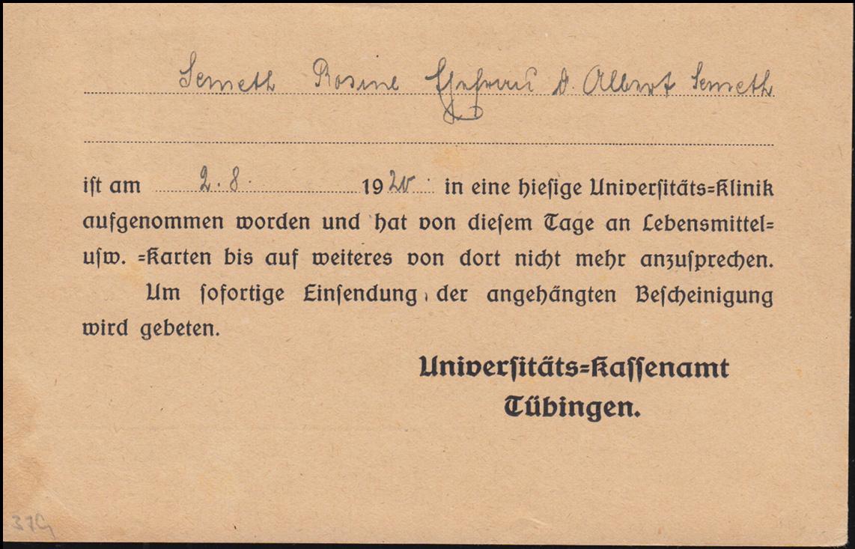 61 Dienst EF auf Postkarte Lebensmittelkarten-Abgabestelle TÜBINGEN 2.8.1920 1