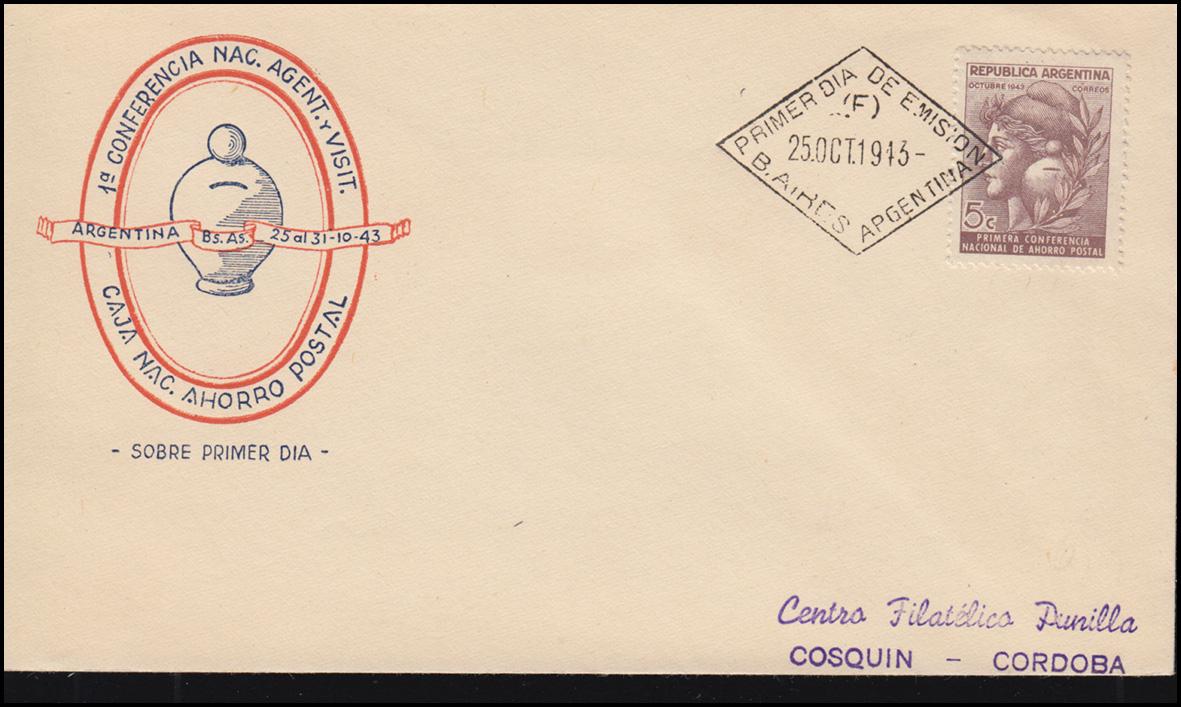 Argentinien 479 Weltspartag Nationale Sparkasse auf FDC Buenos Aires 25.10.1943 0