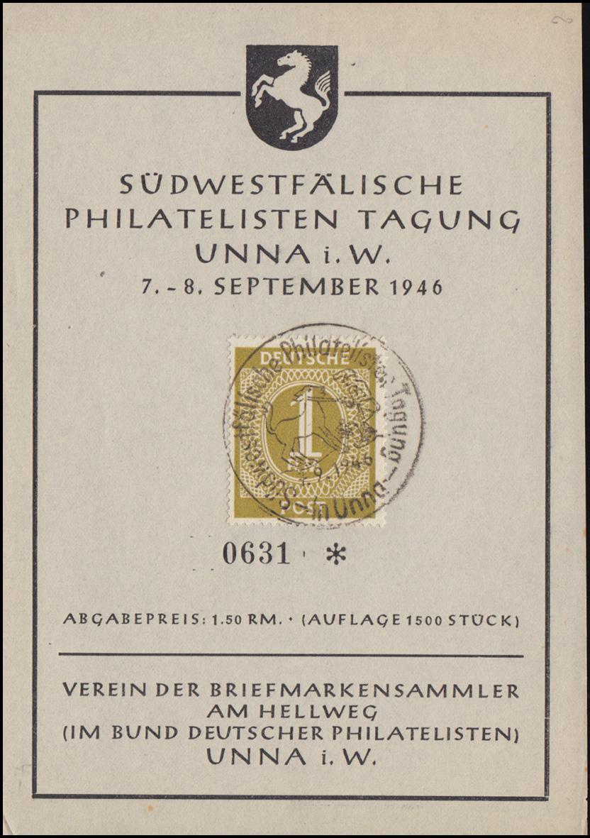 Erinnerungskarte Südwestfälische Philatelisten Tagung in UNNA i.W. SSt 7.9.1946 0