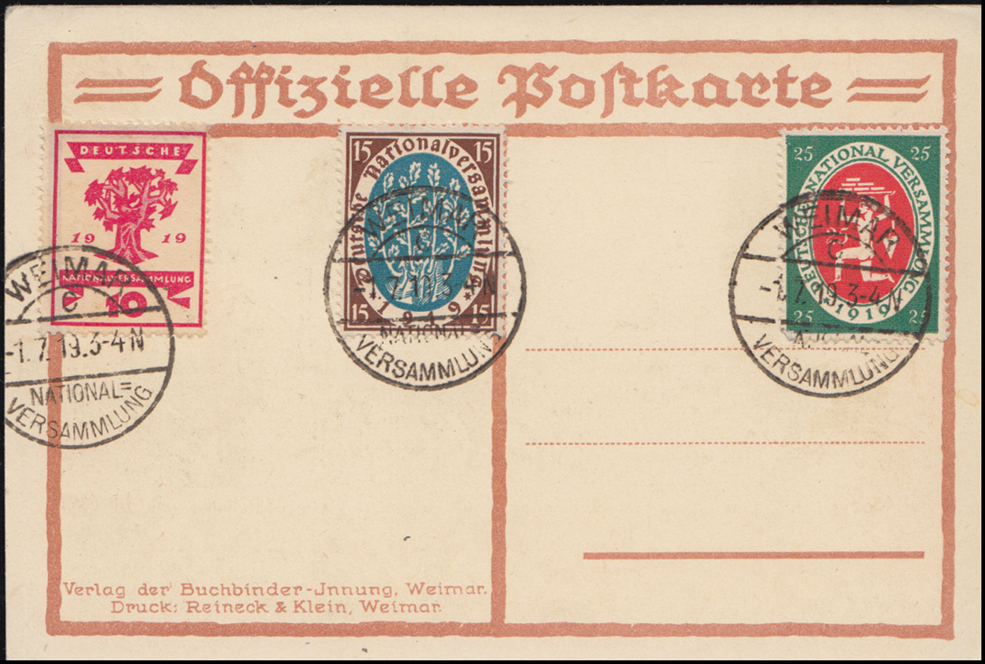 Künster-AK Max Nehrling Nationalversammlung, PK 107+108+109 FDC WEIMAR 1.7.1919 0