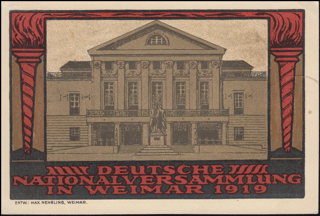Künster-AK Max Nehrling Nationalversammlung, PK 107+108+109 FDC WEIMAR 1.7.1919 1