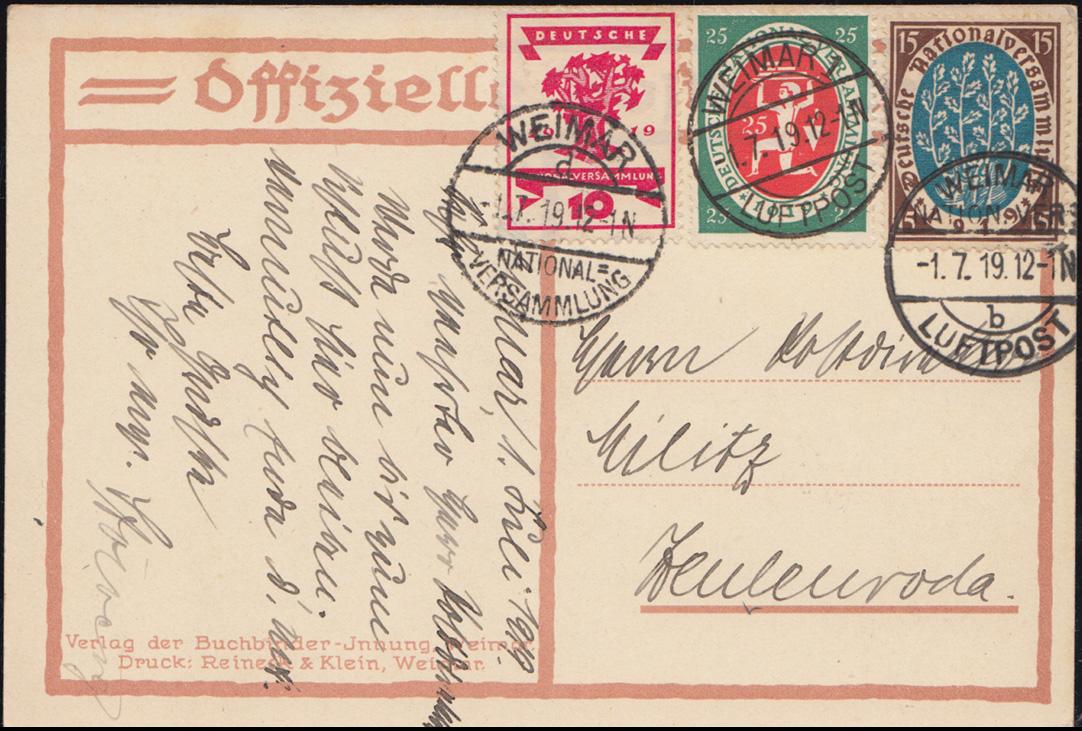 Künster-AK Max Thalmann Nationalversammlung, PK 107+108+109 FDC WEIMAR 1.7.1919 0