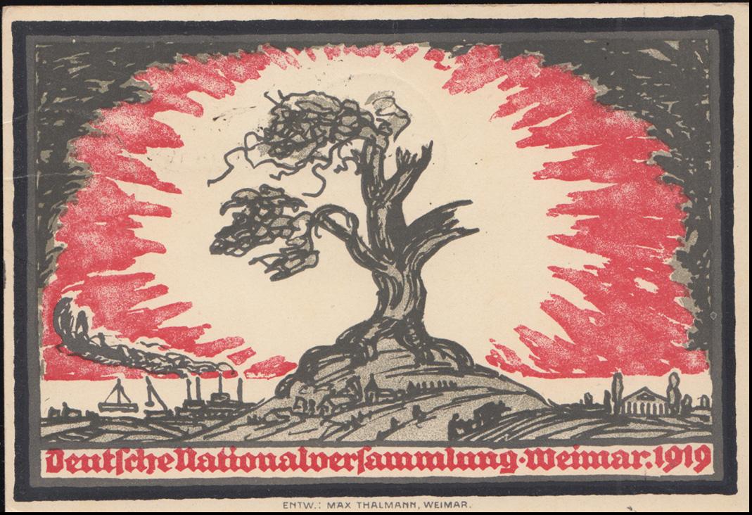 Künster-AK Max Thalmann Nationalversammlung, PK 107+108+109 FDC WEIMAR 1.7.1919 1