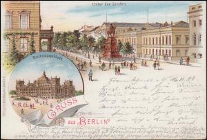 AK Gruss aus Berlin Unter den Linden / Reichstag, ab FRANKFURT/ODER 17.11.98