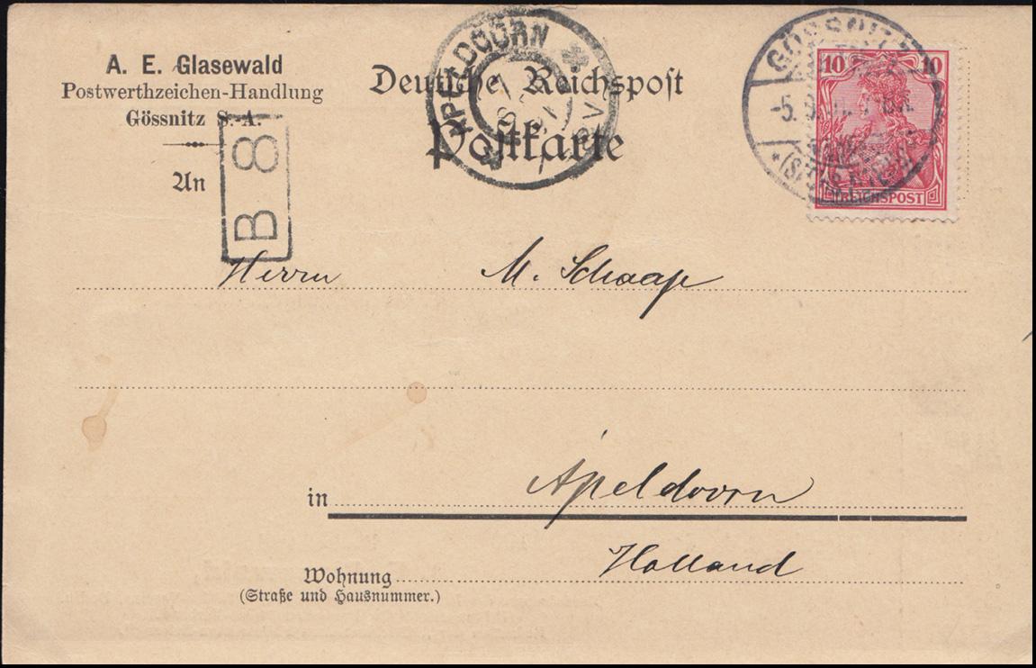 54 Germania Reichspost EF Postkarte A.E. Glasewald GÖSSNITZ  5.9.1901 in die NL 0