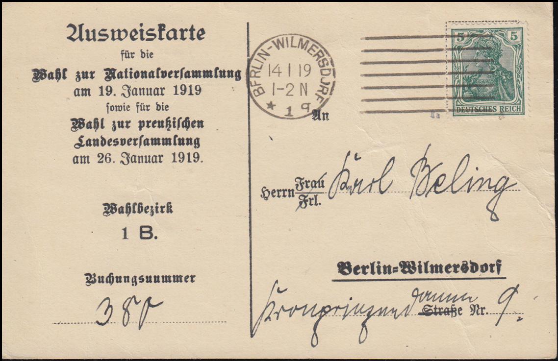 Ausweiskarte zur Wahl der Nationalversammlung.., BERLIN 14.1.19 BPP-geprüft 0