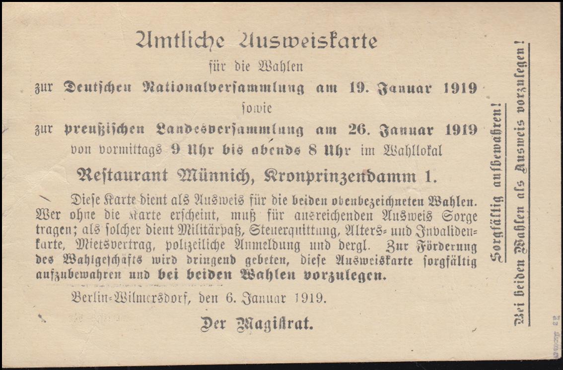 Ausweiskarte zur Wahl der Nationalversammlung.., BERLIN 14.1.19 BPP-geprüft 1