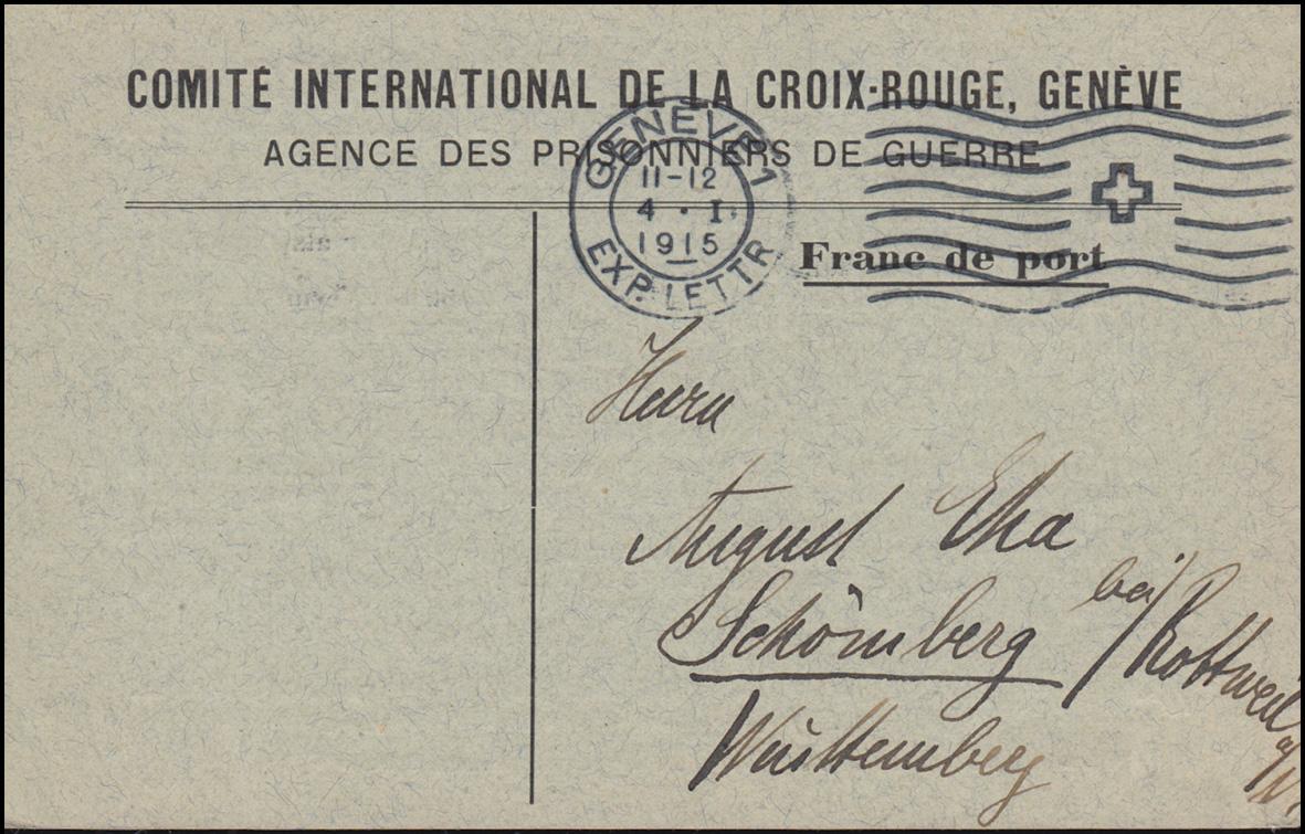 Kriegsgefangenpost Internationales Rotes Kreuz GENF 4.1.1915 nach Schömberg 0
