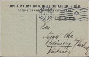 Kriegsgefangenpost Internationales Rotes Kreuz GENF 4.1.1915 nach Schömberg