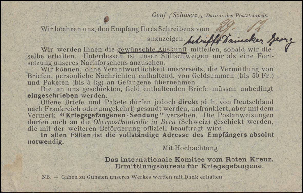 Kriegsgefangenpost Internationales Rotes Kreuz GENF 4.1.1915 nach Schömberg 1