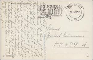 Feldpost-Karte an 00599d auf Ansichtskarte Reichskanzlei BERLIN 28.11.1940