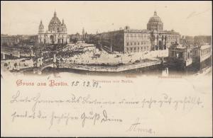 AK Gruss aus Berlin Panorama - Dom Schloss Nationaldenkmal, PERLEBERG 16.12.1901