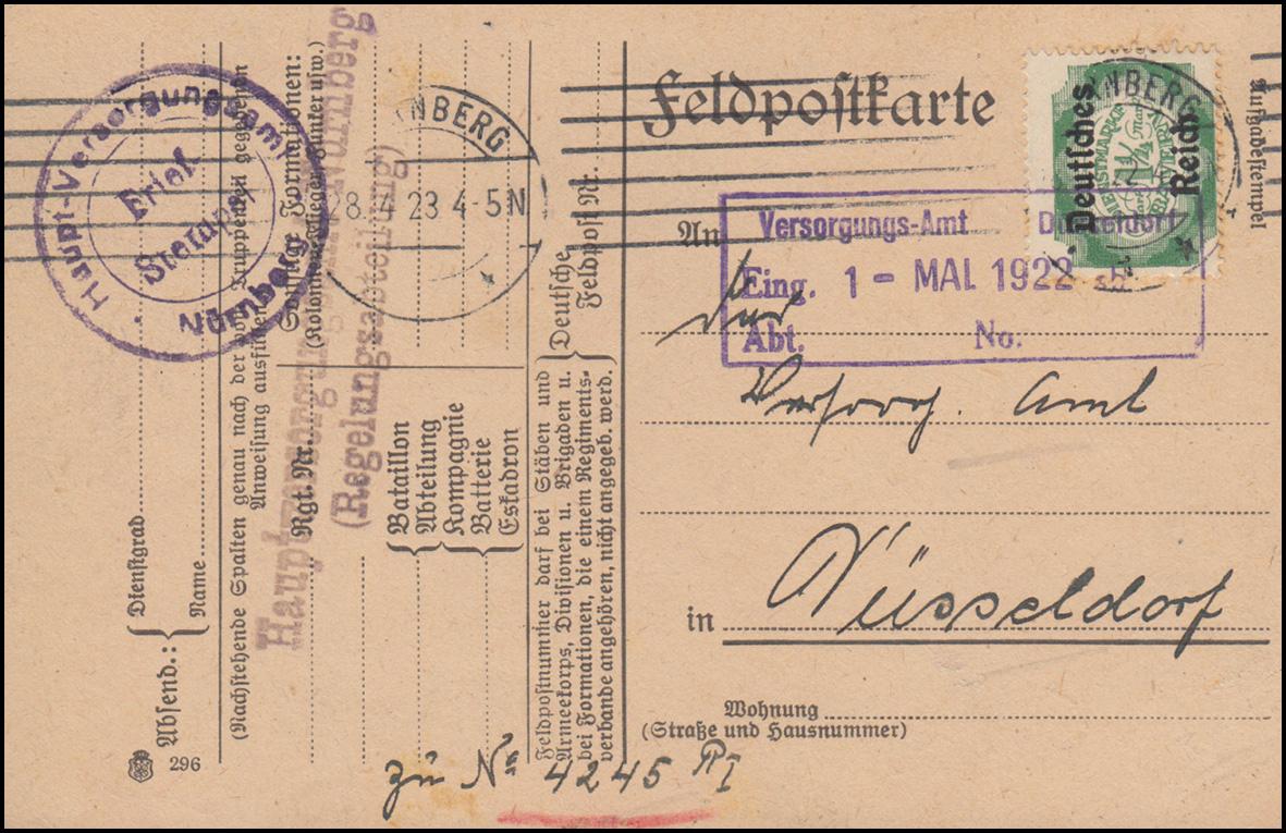 46 Dienst EF auf Postkarte Hauptversorgungsamt NÜRNBERG 28.4.1923 Stempelfehler 0