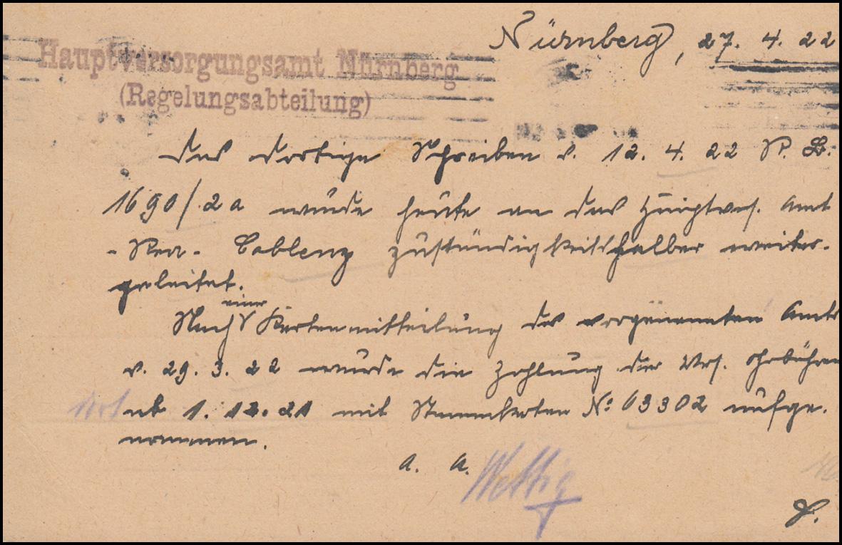 46 Dienst EF auf Postkarte Hauptversorgungsamt NÜRNBERG 28.4.1923 Stempelfehler 1