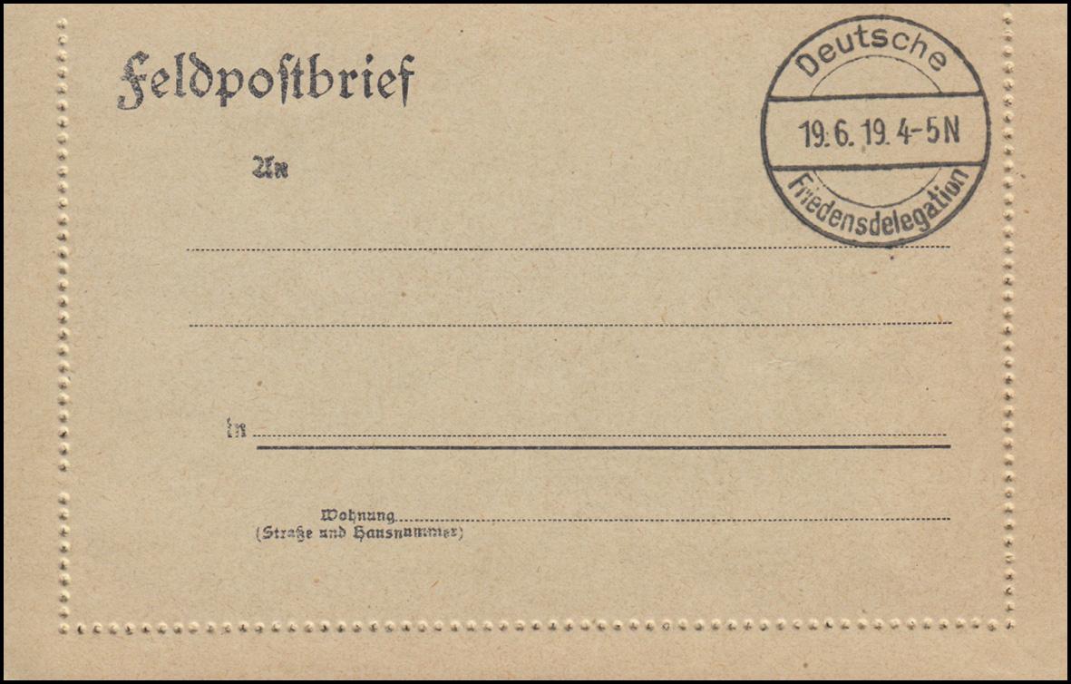 Blanko-Feldpost-Kartenbrief Stempel Deutsche Friedensdelegation 19.6.1919 0