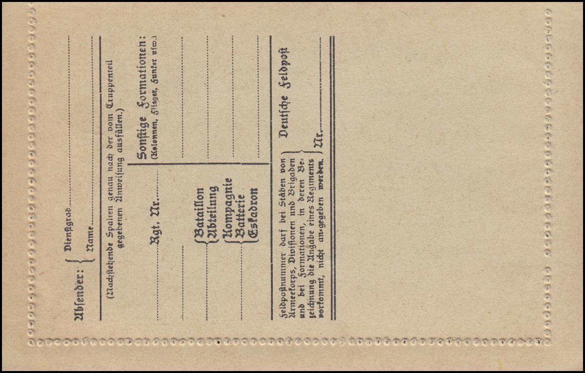 Blanko-Feldpost-Kartenbrief Stempel Deutsche Friedensdelegation 19.6.1919 1