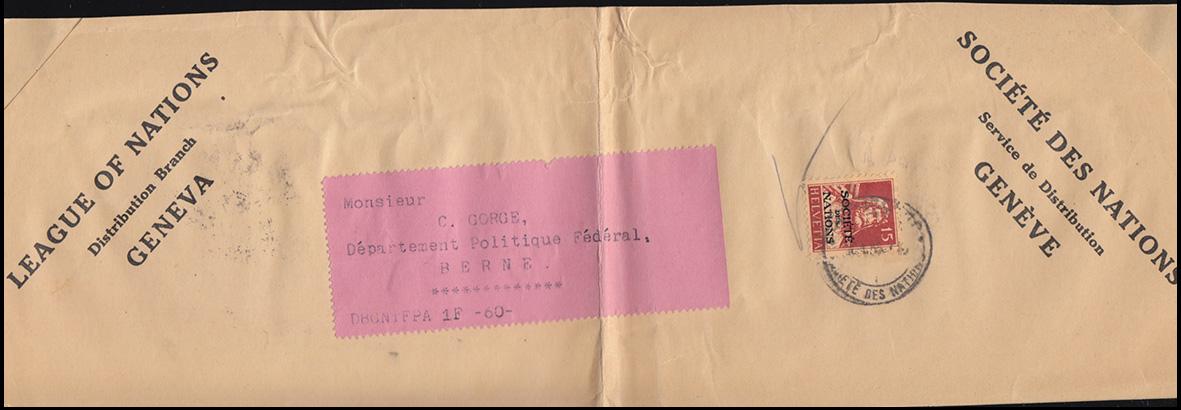 Völkerbund (SDN) 33x Tell mit Armbrust auf Briefausschnitt GENF um 1936 0
