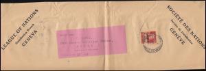 Völkerbund (SDN) 33x Tell mit Armbrust auf Briefausschnitt GENF um 1936