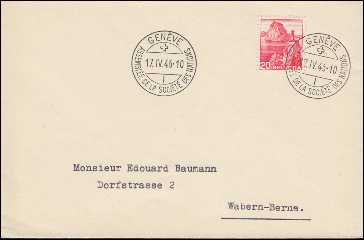 Schweiz 327 Landschaft als EF auf Brief SSt GENF Vollversammlung 17.4.1946 0