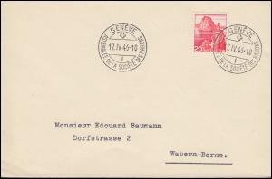 Schweiz 327 Landschaft als EF auf Brief SSt GENF Vollversammlung 17.4.1946