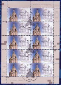 2491 800 Jahre Dresden / Sachsen - 10er-Bogen auf Kartonvorlage, ESST