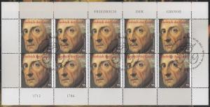 2906 350. Geburtstag Friedrich der Große - 10er-Bogen auf Kartonvorlage, ESST