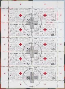 2998 150 Jahre Rotes Kreuz - 10er-Bogen auf Kartonvorlage, ESST
