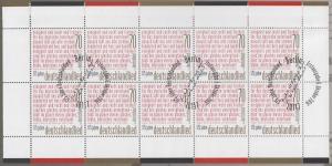 3263 175 Jahre Deutschlandlied - 10er-Bogen auf Kartonvorlage, ESST