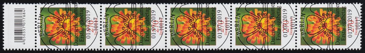 3475 Habichtskraut 270 Cent, 5er-Streifen mit Codierfeld, ESSt Berlin 1.7.2019 0