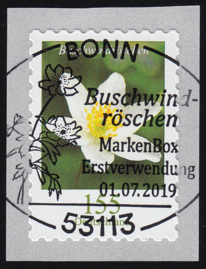 3484 Buschwindröschen 155 Cent sk aus 100er mit GERADER Nummer, EV-O Bonn 0