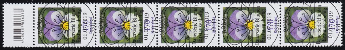 3473 Stiefmütterchen 170 Cent, 5er-Streifen mit Codierfeld, ESSt Bonn 1.7.2019 0