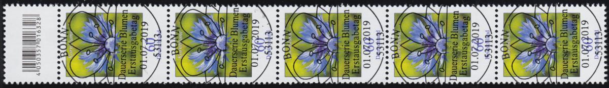 3468 Kornblume 60 Cent aus 200er, 5er-Streifen mit Codierfeld ESSt Bonn 1.7.19 0