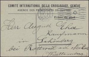 Kriegsgefangenpost Internationales Rotes Kreuz GENF 19.1.1915 nach Schömberg