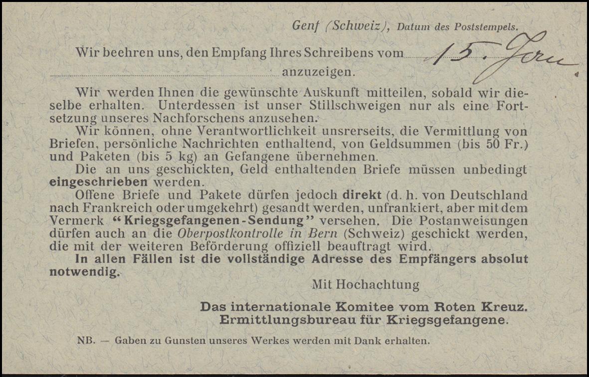 Kriegsgefangenpost Internationales Rotes Kreuz GENF 19.1.1915 nach Schömberg 1
