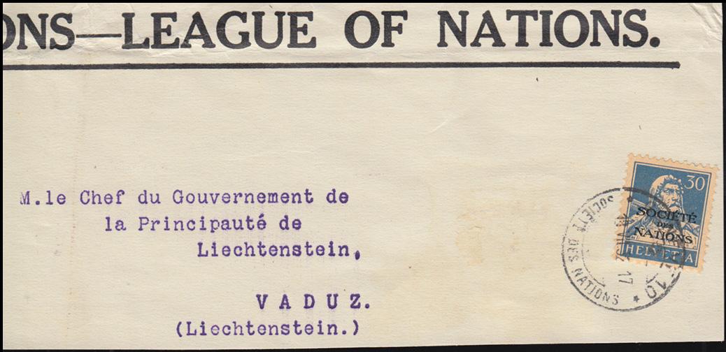 Völkerbund (SDN) 19x Tell mit Armbrust EF auf Briefausschnitt GENF 18.7.1932 0
