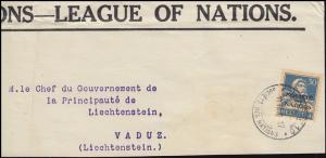 Völkerbund (SDN) 19x Tell mit Armbrust EF auf Briefausschnitt GENF 18.7.1932