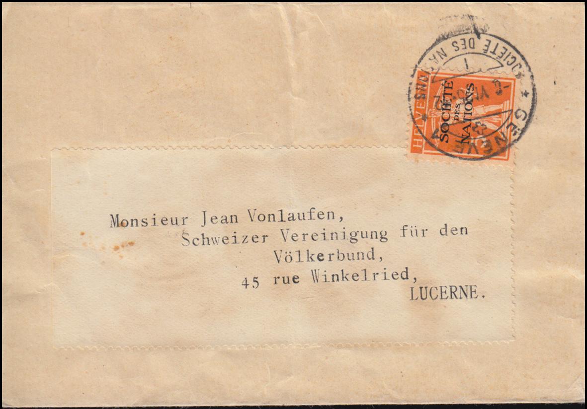 Völkerbund (SDN) 1x Tellknabe auf Streifband GENF 8.6.1925 nach Luzern 0